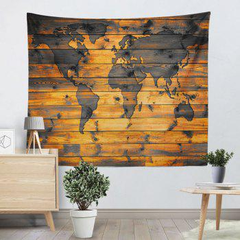 World Map Wall Hanging Wood Grain Print Tapestry - WOOD COLOR W79 INCH * L59 INCH