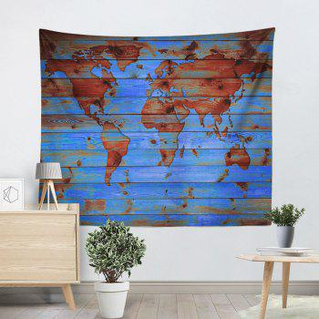 Decorative Wall Hanging World Map Print Tapestry - LAKE BLUE W59 INCH * L79 INCH
