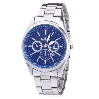 Alloy Strap Date Number Watch - SILVER AND BLUE SILVER/BLUE