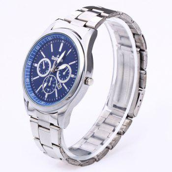 Alloy Strap Date Number Watch - SILVER/BLUE