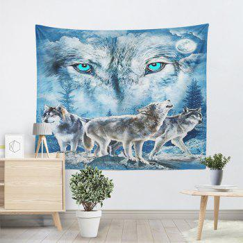 Wall Hanging Snowy Night Wolves Print Tapestry - BLUE W51 INCH * L59 INCH