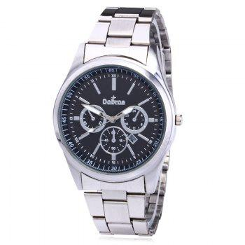 Alloy Strap Date Number Watch - BLACK + SILVER BLACK / SILVER