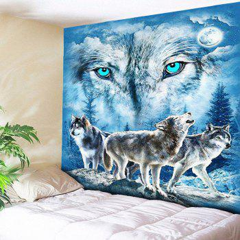 Wall Hanging Snowy Night Wolves Print Tapestry