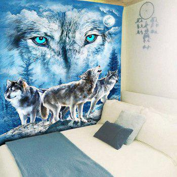 Wall Hanging Snowy Night Wolves Print Tapestry - BLUE W59 INCH * L79 INCH