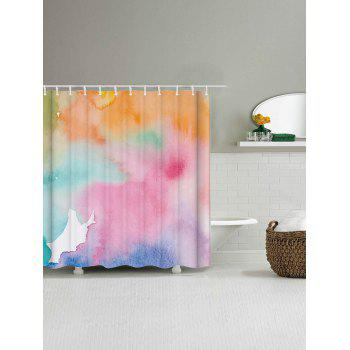 Watercolor Extra Long Bathroom Decor Shower Curtain - COLORMIX W71 INCH * L79 INCH