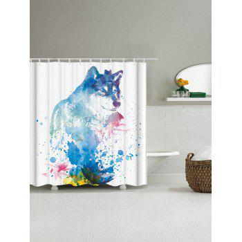 Fabric Watercolor Wolf Shower Curtain with Hooks - WHITE W71 INCH * L79 INCH