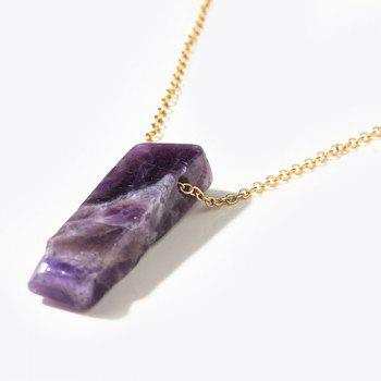 Natural Stone Collarbone Geometric Layered Necklace -  PURPLE