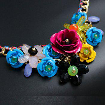 Chunky Statement Flower Necklace -  COLORMIX