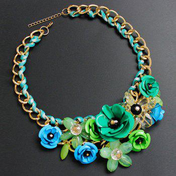 Chunky Statement Flower Necklace - GREEN GREEN