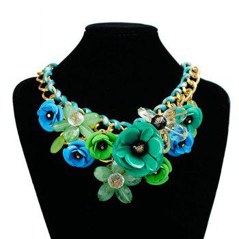 Chunky Statement Flower Necklace -  GREEN