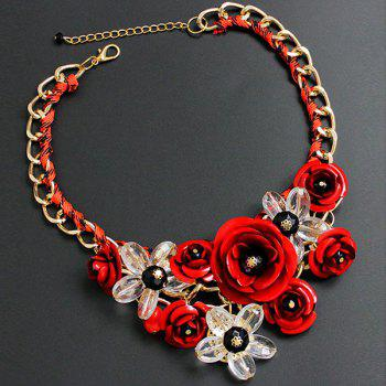 Chunky Statement Flower Necklace - RED RED