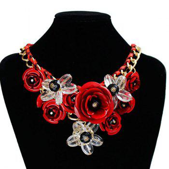 Chunky Statement Flower Necklace -  RED