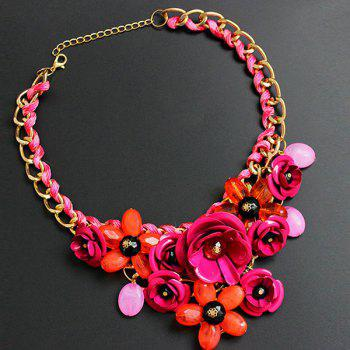 Chunky Statement Flower Necklace - ROSE RED ROSE RED