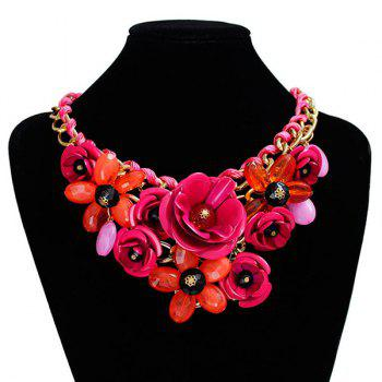 Chunky Statement Flower Necklace -  ROSE RED