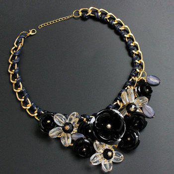 Chunky Statement Flower Necklace - BLACK BLACK