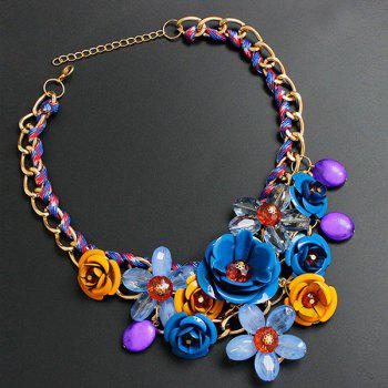 Chunky Statement Flower Necklace - ROYAL ROYAL