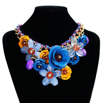 Chunky Statement Flower Necklace -  ROYAL