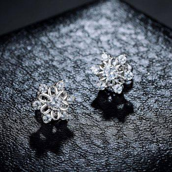 Faux Diamond Hexagram Flower Stud Tiny Earrings - SILVER
