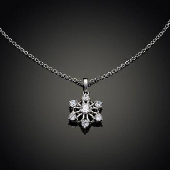 Fake Diamond Hexagram Flower Pendant Necklace -  SILVER
