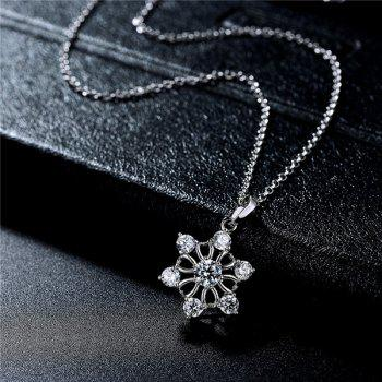 Fake Diamond Hexagram Flower Pendant Necklace - SILVER SILVER