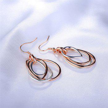 Multilayered Alloy Teardrop Earrings - ROSE GOLD