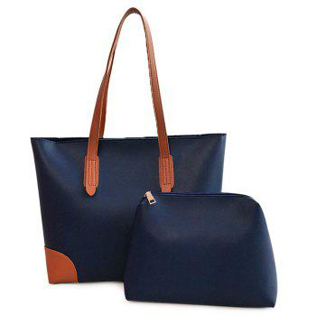 PU Leather Shopper Bag with Clutch Bag