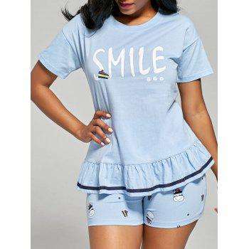 Printed Flounce Cotton Pajamas Set - LIGHT BLUE 2XL