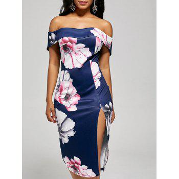 Off The Shoulder Slit Floral Bodycon Dress