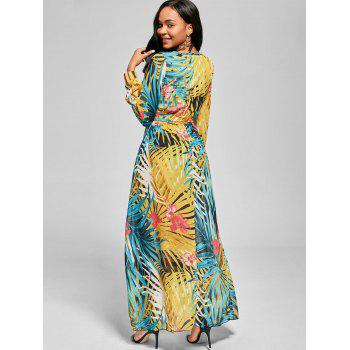 Chiffon Long Sleeve Maxi Flowy Dress - BLUE L