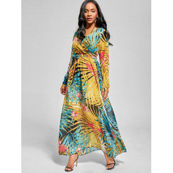 Chiffon Long Sleeve Maxi Flowy Dress - XL XL