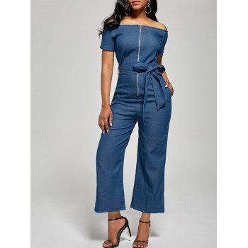 Off The Shoulder Denim Zippered Jumpsuit