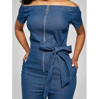Off The Shoulder Denim Zippered Jumpsuit - DENIM BLUE S