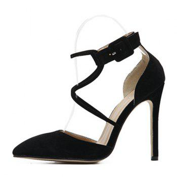 Suede Color Block High Heel Pumps - BLACK 40