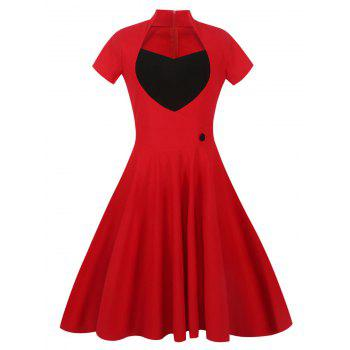 Sweetheart Front 50s Vintage Swing Dress - RED RED