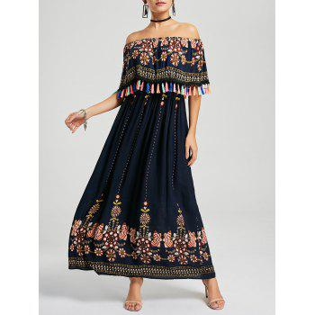 Tassel Off The Shoulder Boho Maxi Dress