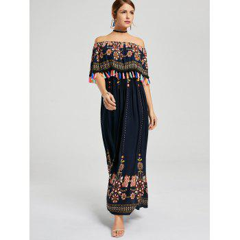 Tassel Off The Shoulder Boho Maxi Dress - Bleu Violet M
