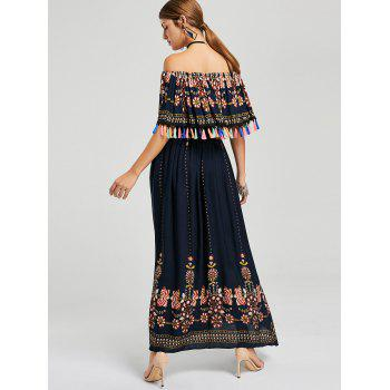 Tassel Off The Shoulder Boho Maxi Dress - L L
