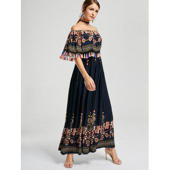 Tassel Off The Shoulder Boho Maxi Dress - Bleu Violet XL