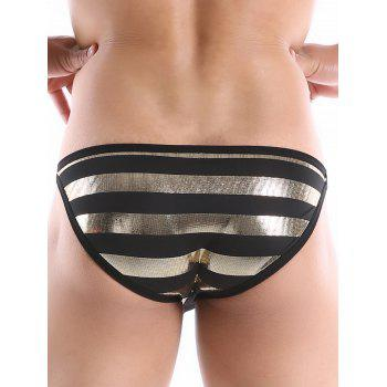 Gilding Stripes Side Hasp String Briefs - BLACK BLACK