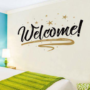 Removable Welcome Letter Shop Door Wall Sticker - BLACK BLACK