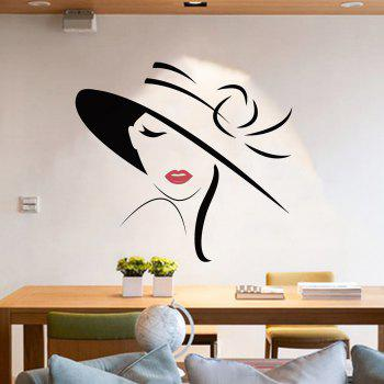 Girl Vinyl Wall Art Sticker For Bedroom - BLACK 57*54CM
