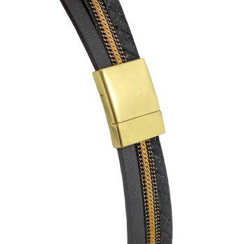 Faux Leather Analog Bracelet Watch -  SILVER