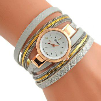 Faux Leather Analog Bracelet Watch - SILVER SILVER