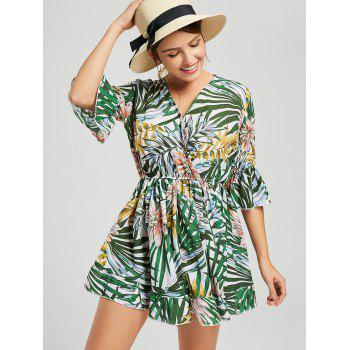 V Neck Tropical Print Surplice Romper - multicolor XL