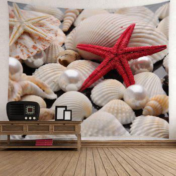 Pearl Starfish Sea Shell Print Wall Tapestry - COLORFUL COLORFUL