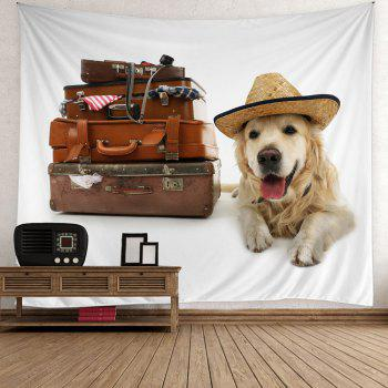 Suitcase Dog Print Wall Hanging Tapestry - COLORFUL COLORFUL