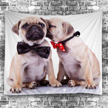 Puppy Bowknot Print Wall Tapestry - GRAY W59 INCH * L51 INCH