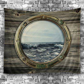 Porthole with Sea View Wall Tapestry - DARK GRAY GREEN W59 INCH * L51 INCH