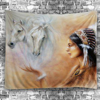 Horse African Girl Print Wall Tapestry - COLORFUL W59 INCH * L59 INCH