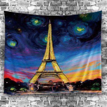 Oil Painting Eiffel Tower Wall Art Tapestry - COLORFUL W79 INCH * L59 INCH